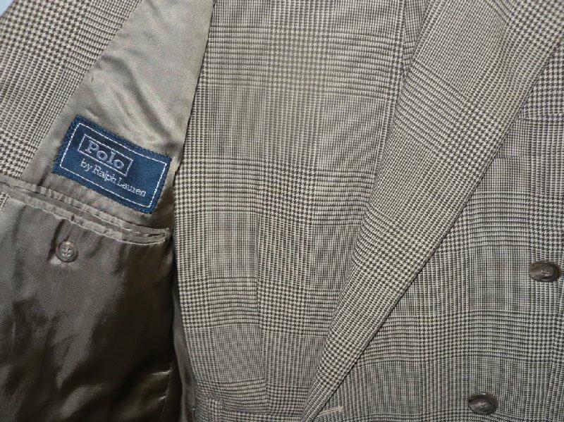 RLP Double Breasted Glen Plaid suit, size 40L