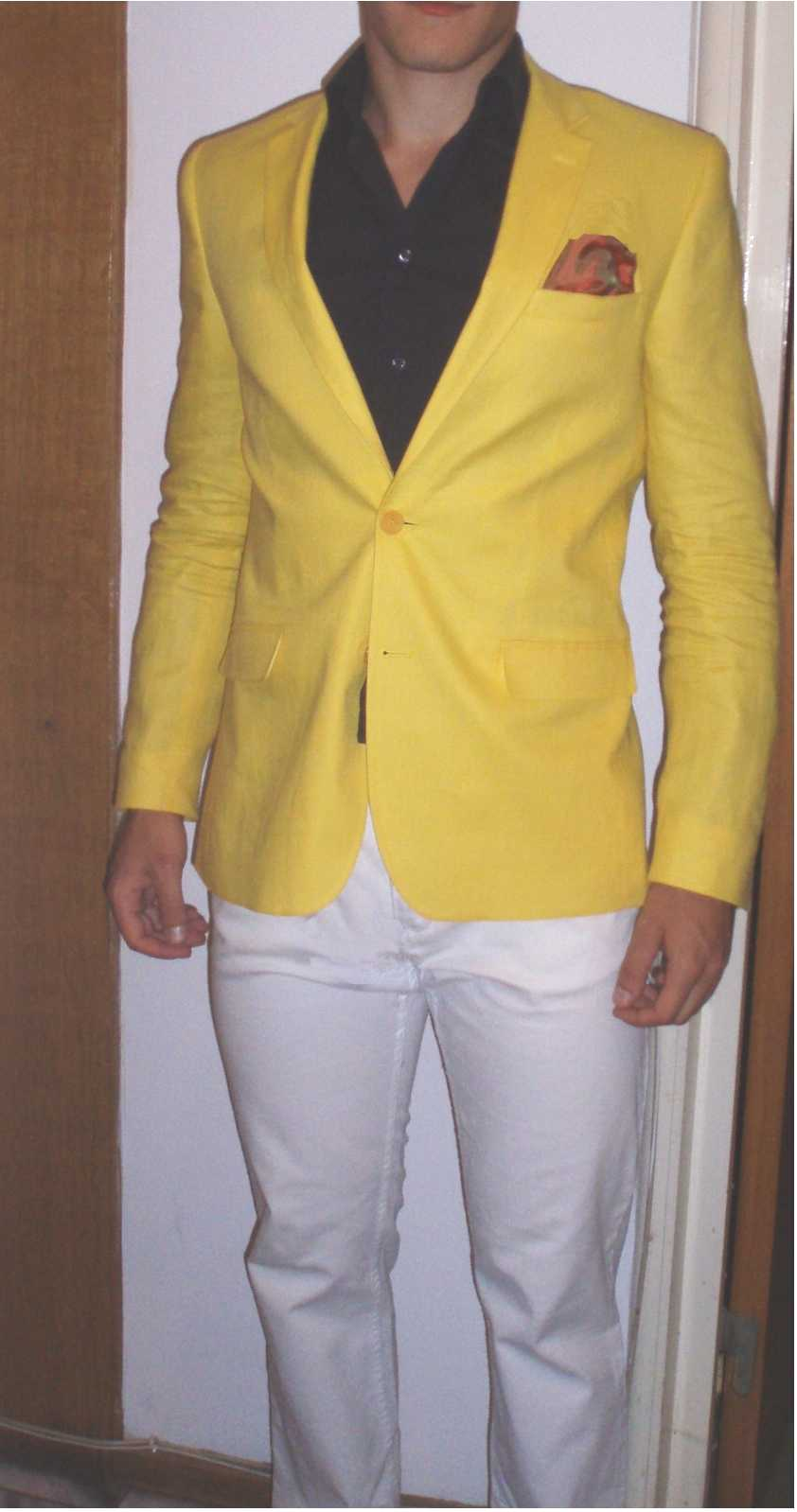 What color shirt and handkerchief would go with a yellow blazer ...