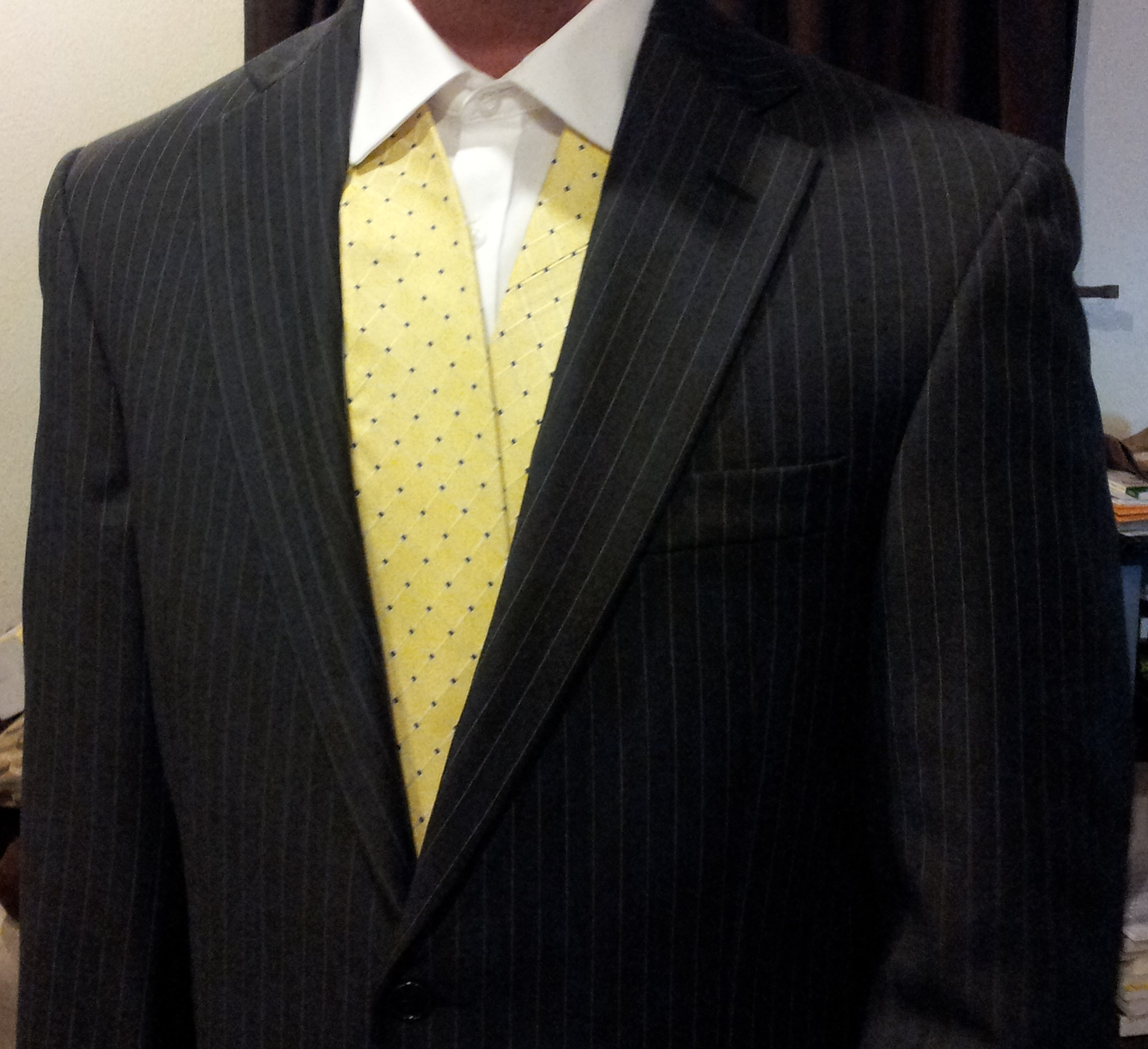 Which Tie Is Most Appropriate With This Grey Pinstripe Suit White