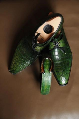 Corthay Arca green crocodile shoes with a matching belt
