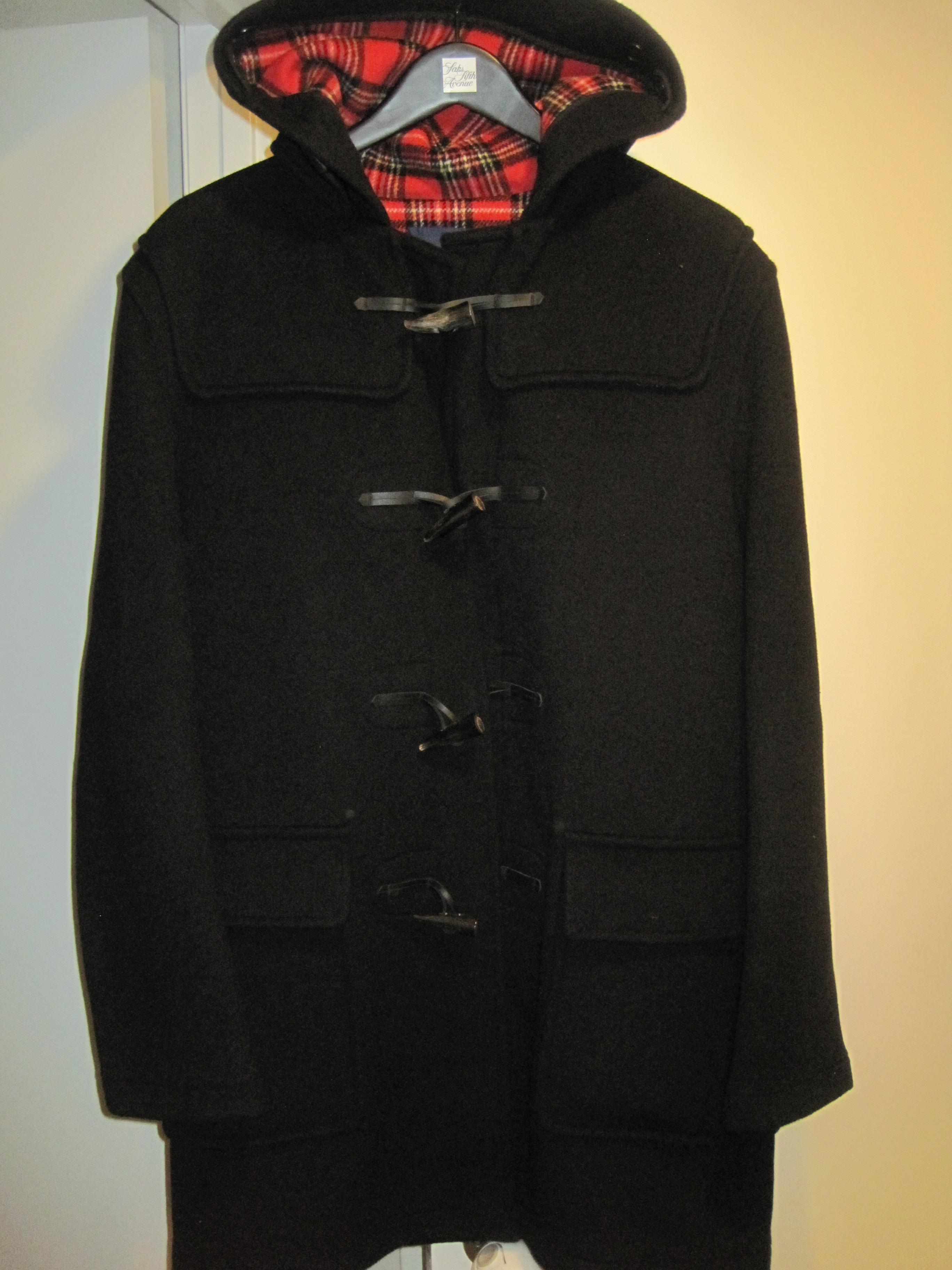 NWT Fred Perry x Gloverall Black Wool Duffle Coat Size 40 Made in