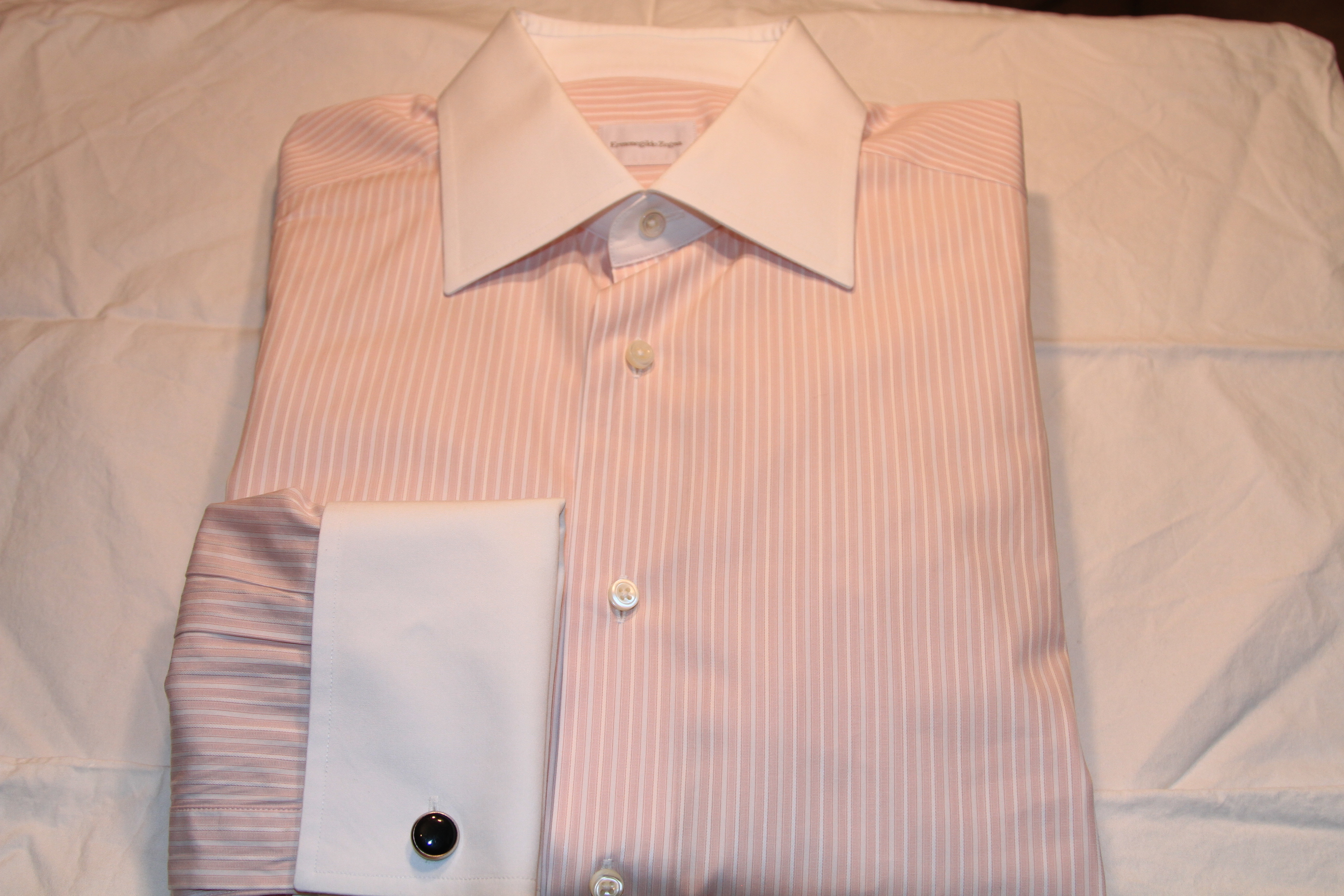 #2 - Zegna 41/16 Light Pink with White Stripe (White Collar and White Cuffs)