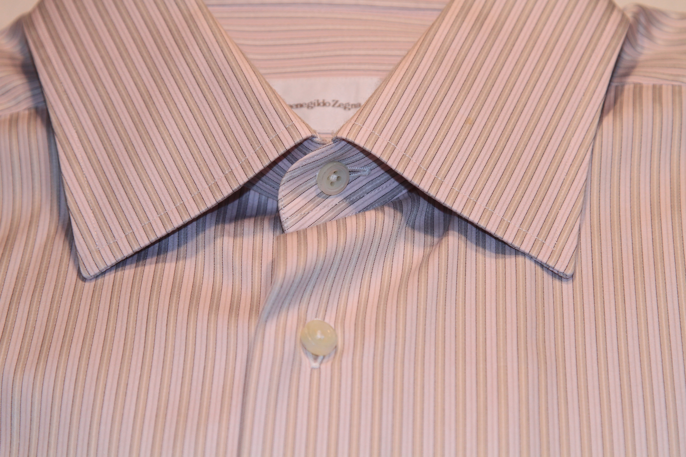 #5 - Zegna 42/16.5 Light Pink with Light Silver Stripe