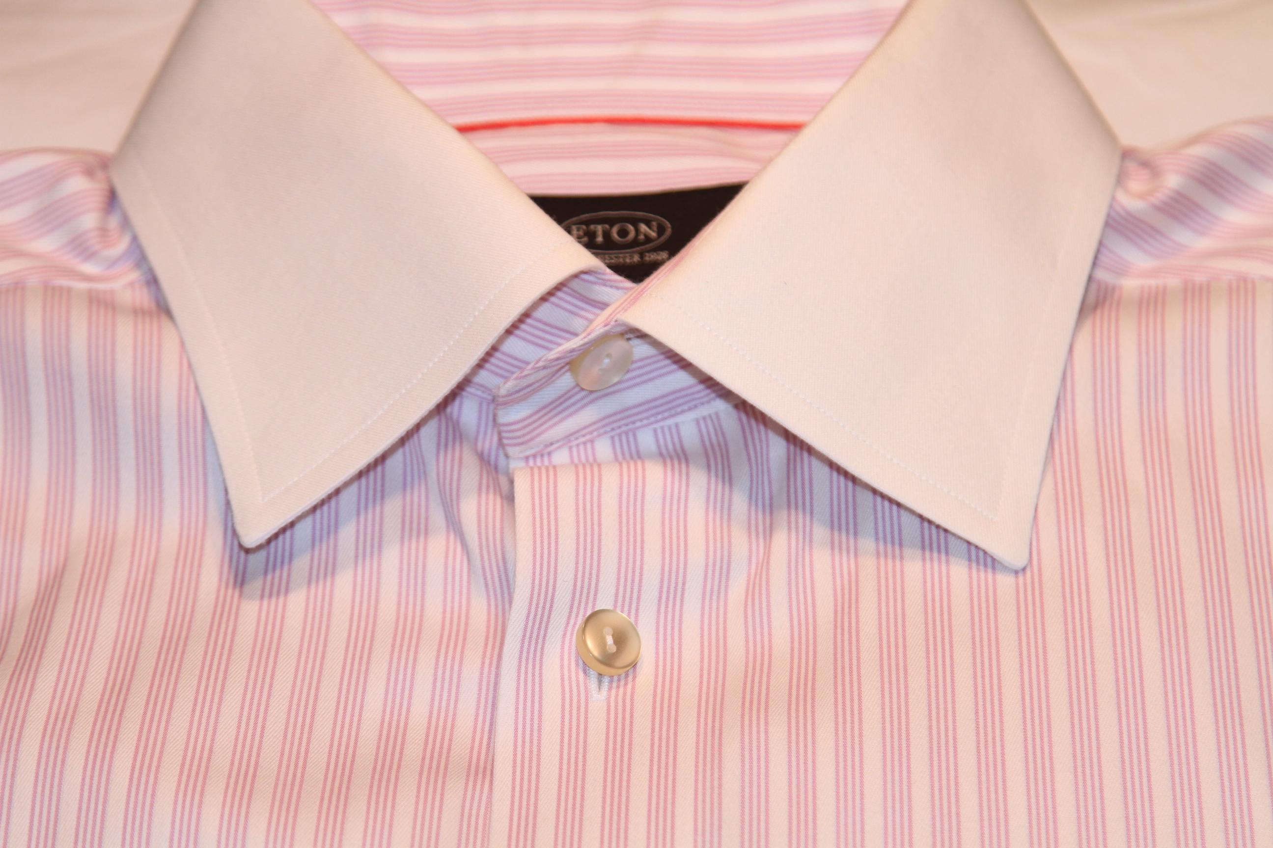 #10 - Eton 41/16 White with Light Magenta quadruple stripe. White collar and cuffs