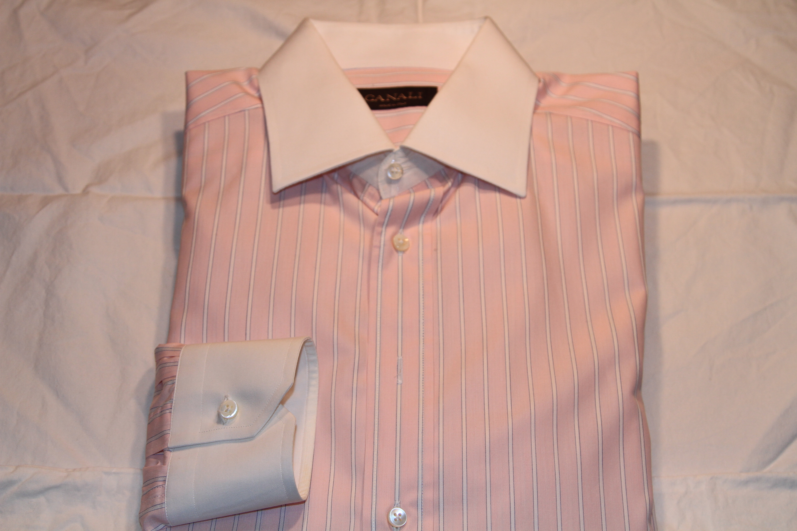 #14 - Canali 41/16 Pink with White Stripe (White Collar and Cuffs)