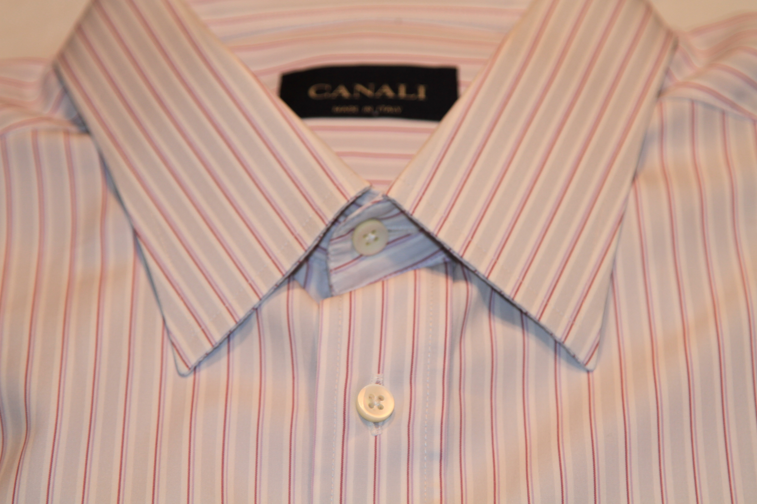 #15 - Canali 42/16.5 Light Grey with Maroon and Purple Stripe