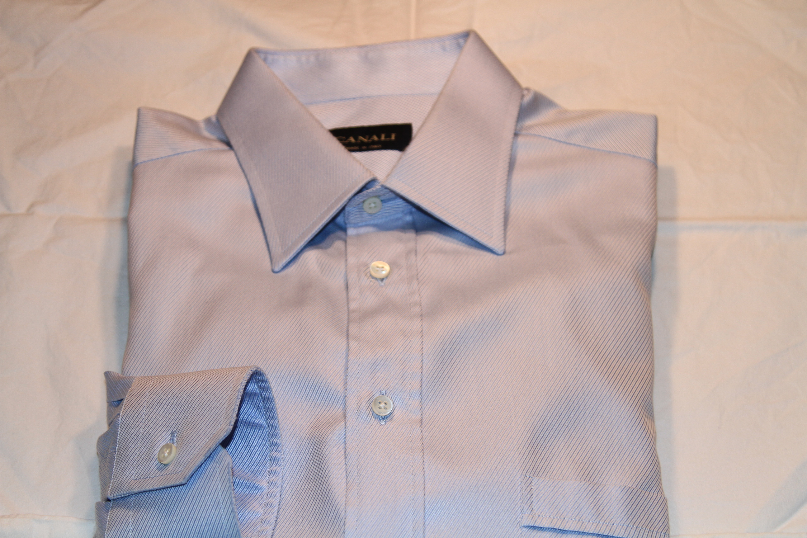 #16 - Canali 41/16 Light Blue Solid (diagonal type pattern)
