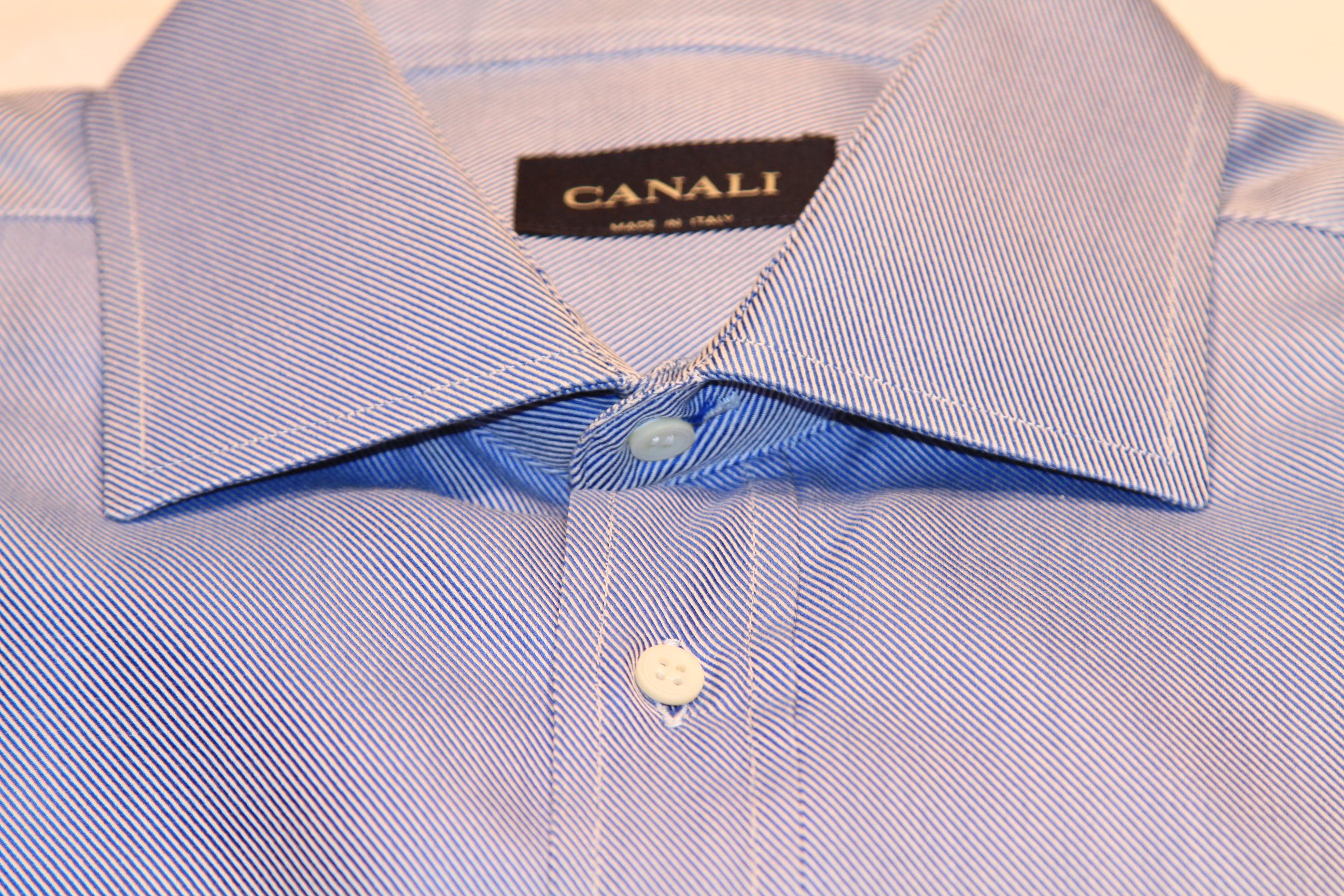 #18 - Canali 41/16 Darker Blue Solid (diagonal type pattern)