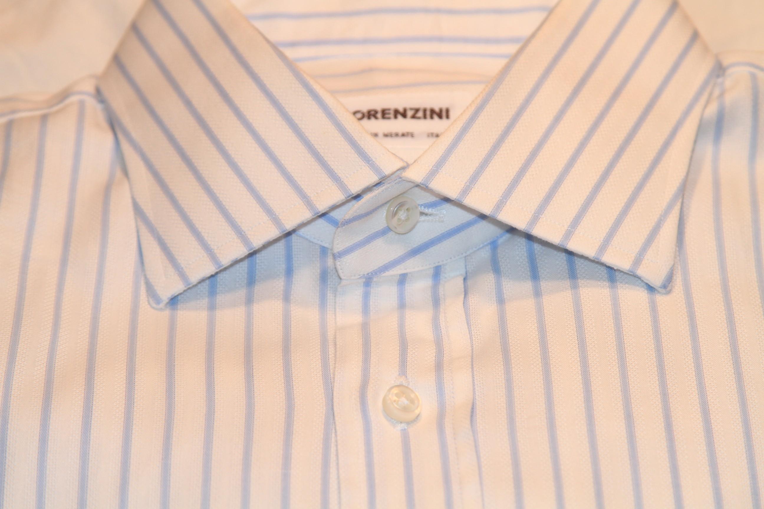 #22 - Lorenzini 41/16 White with Light Blue Stripe (very soft shirt)