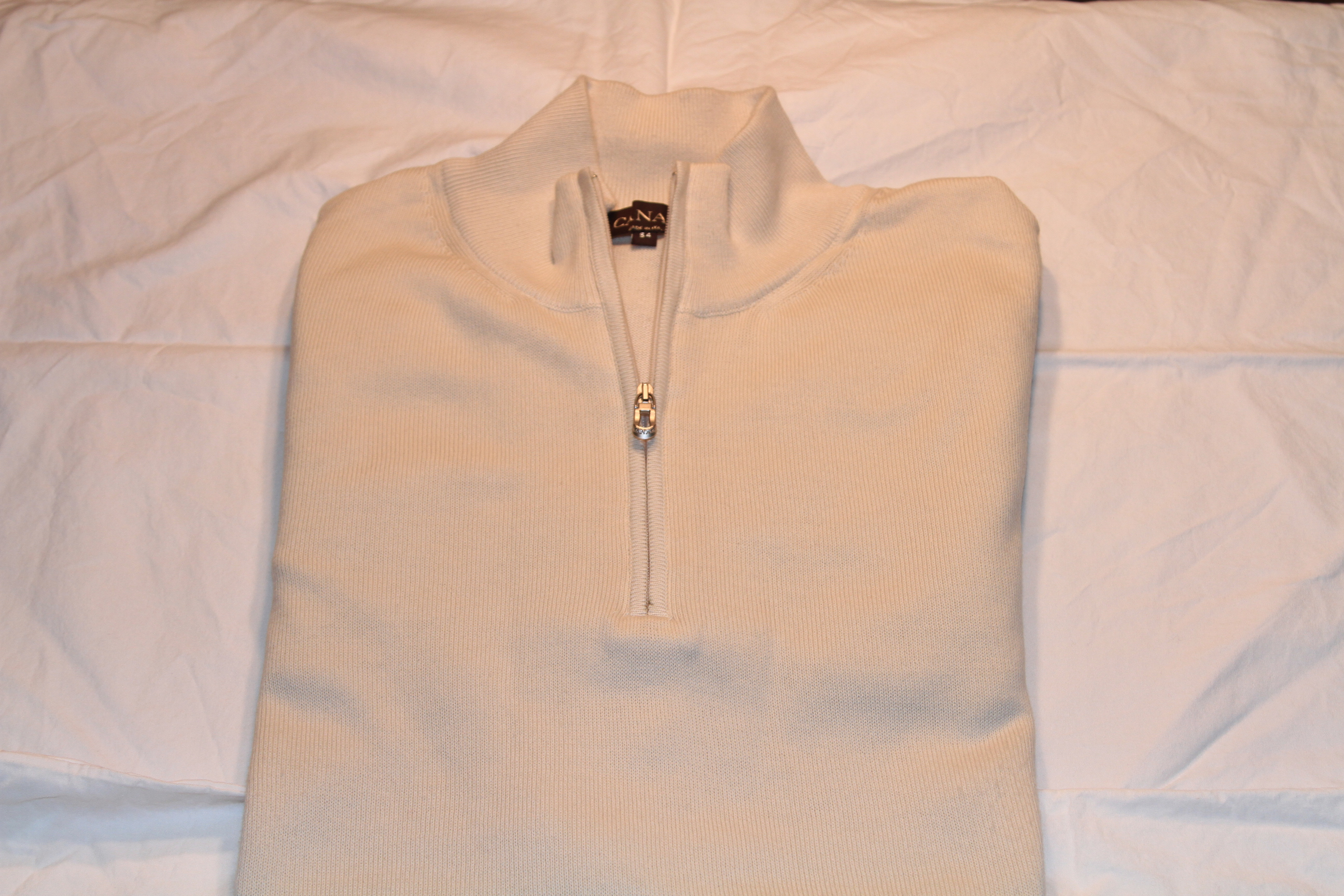 #2 - Canali Sweater Size 54 Off-White Half-Zip 100% Cotton $95