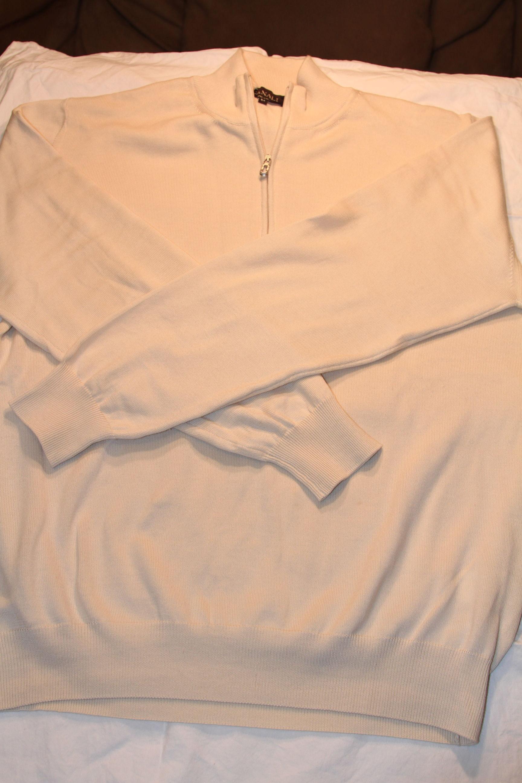 #2 - Canali Sweater Size 54 Off-White Half-Zip 100% Cotton $95