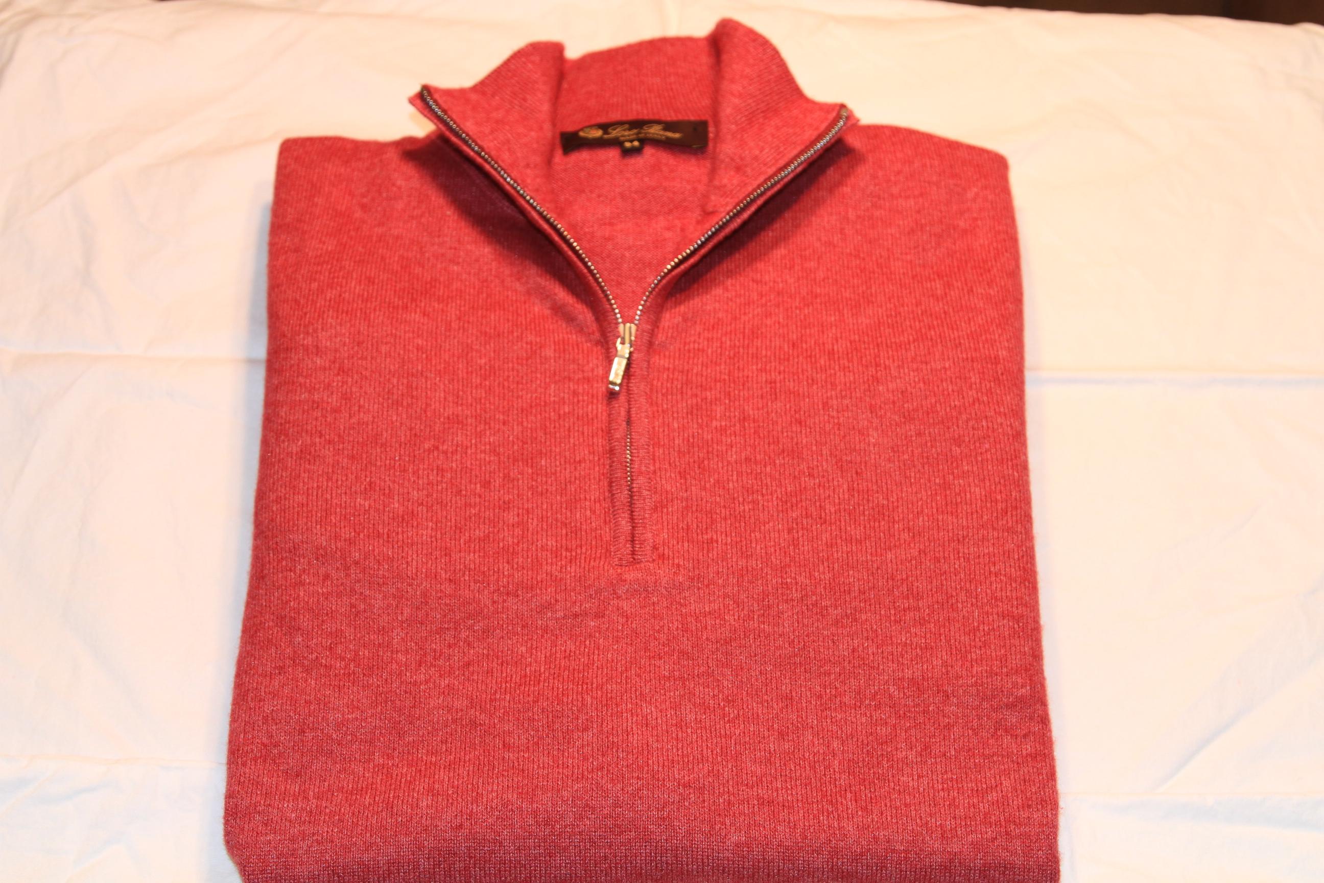#4 - Lora Piana Sweater Size 54 Magenta Half-Zip 50% Cashmere 50% Silk Elbow Pads Amazing, Amazing Sweater $275