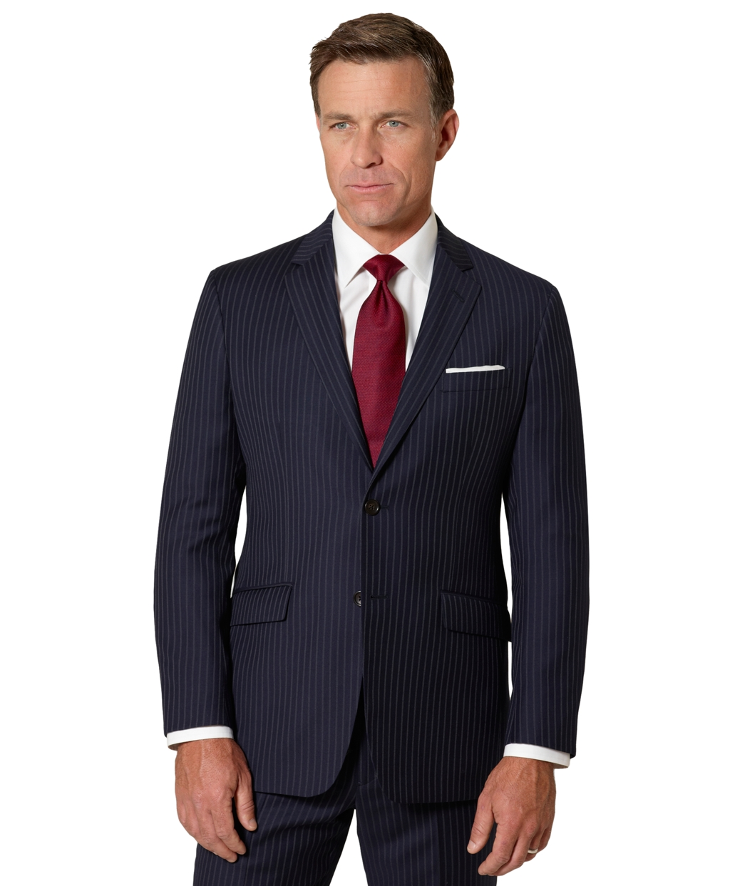 Is BB navy blue pin stripe suit okay for law firm interview?