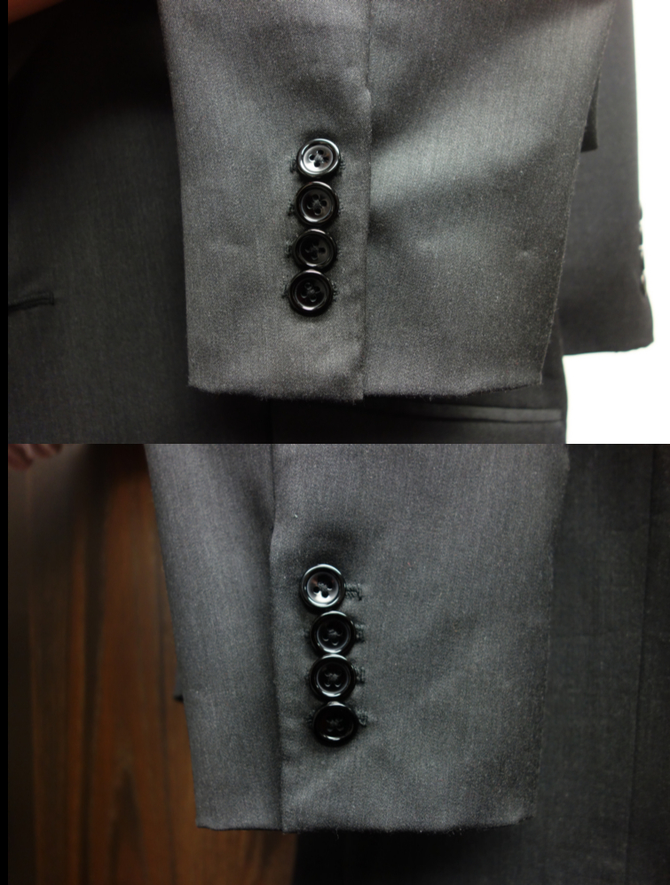 Comparison right and left cuff and button holes.