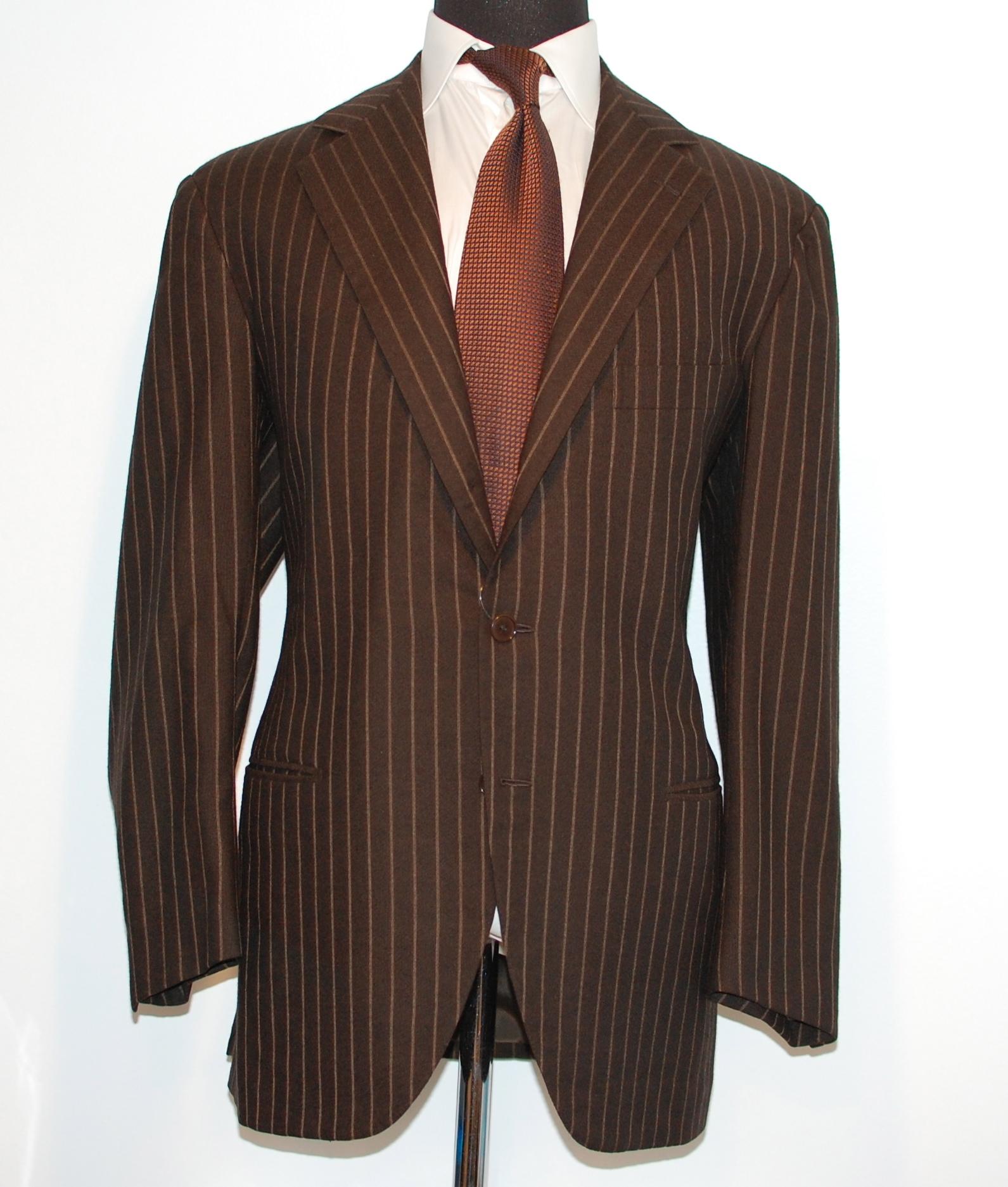 Brown Pinstripe Suit Cheap Dress Yy