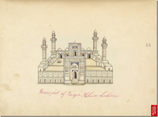 Watercolour drawing of the Mosque of Wazir Khan in Lahore, Pakistan by an anonymous artist working in the Punjab style, c. 1860. The image is inscribed: 'Masjid of Vazir Khan Lahore.'