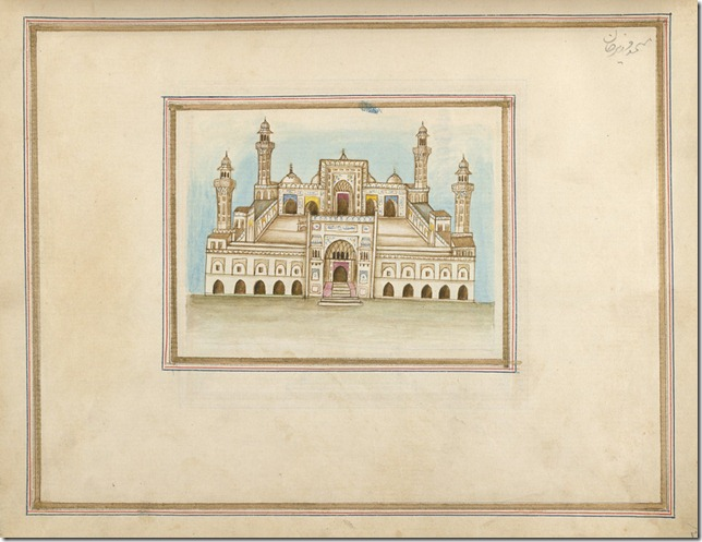 Watercolour of the mosque of Wazir Khan in Lahore, Pakistan, by an anonymous artist working in the Punjab style, c. 1860. Inscribed in Persian characters: 'Masjid i Wazir Khan.'