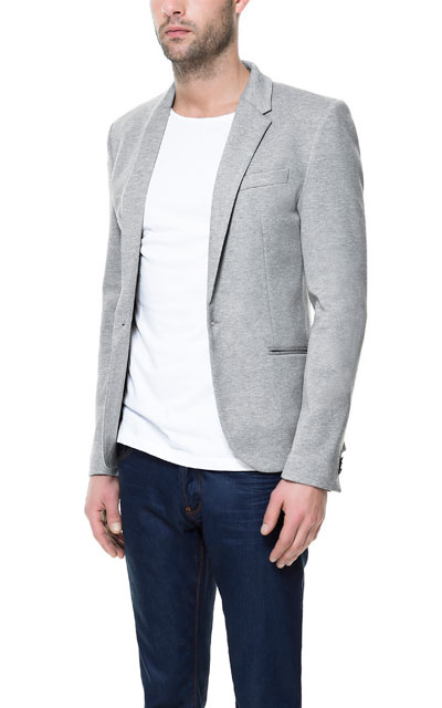 Dark blue blazer grey pants