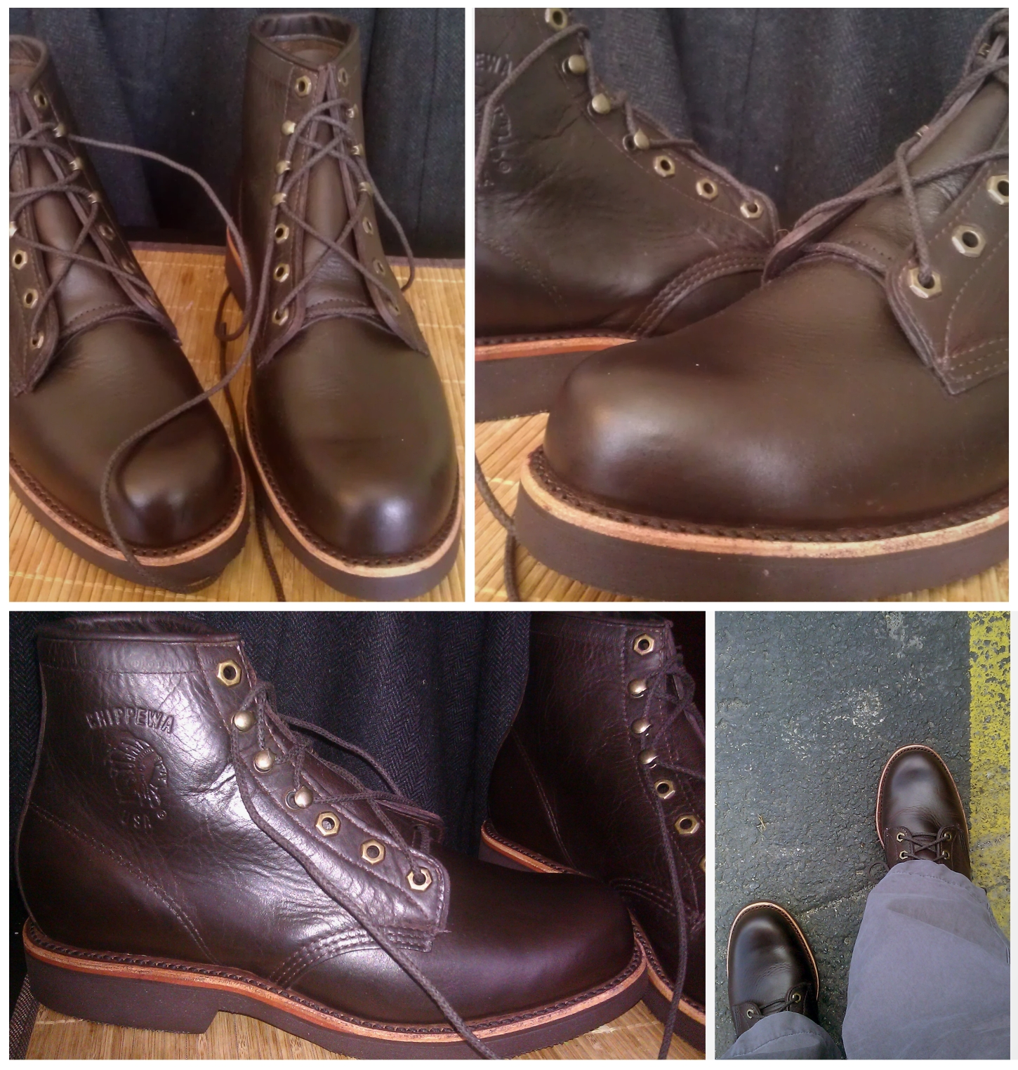 "Chippewa 20065 ""GQ"" boots after two coats of Meltonian Shoe Cream (Color #164 Dark Cordovan-Burgundy), lightly buffed and worn for a day. The color in the bottom pictures is more accurate."