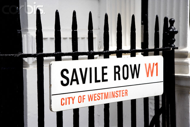 A close up of a Saville Row street sign in the West End.