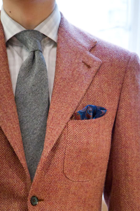 Red and White Herringbone Tweed