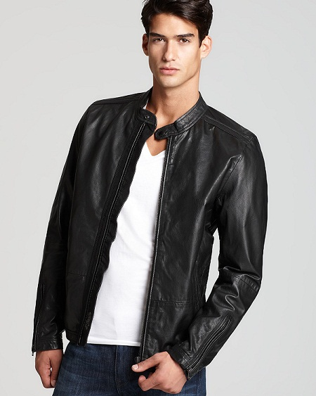 Leather bomer jacket