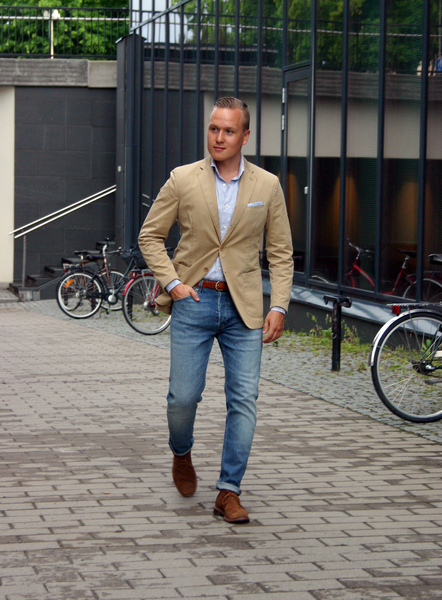 Show me your best Sport Jacket with blue jeans (and list the brand ...
