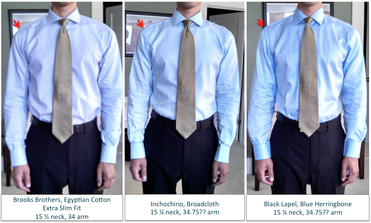 Brooks brothers indochino black lapel shirt comparisons for Brooks brothers tall shirts