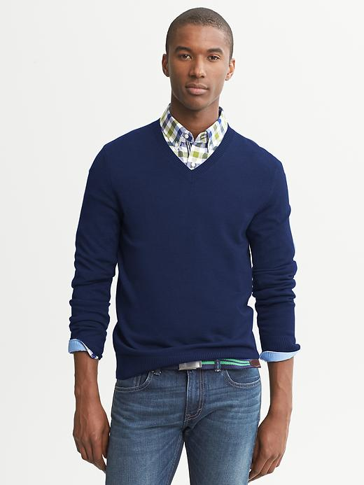 V Neck Sweater Over Button Down Shirt 106