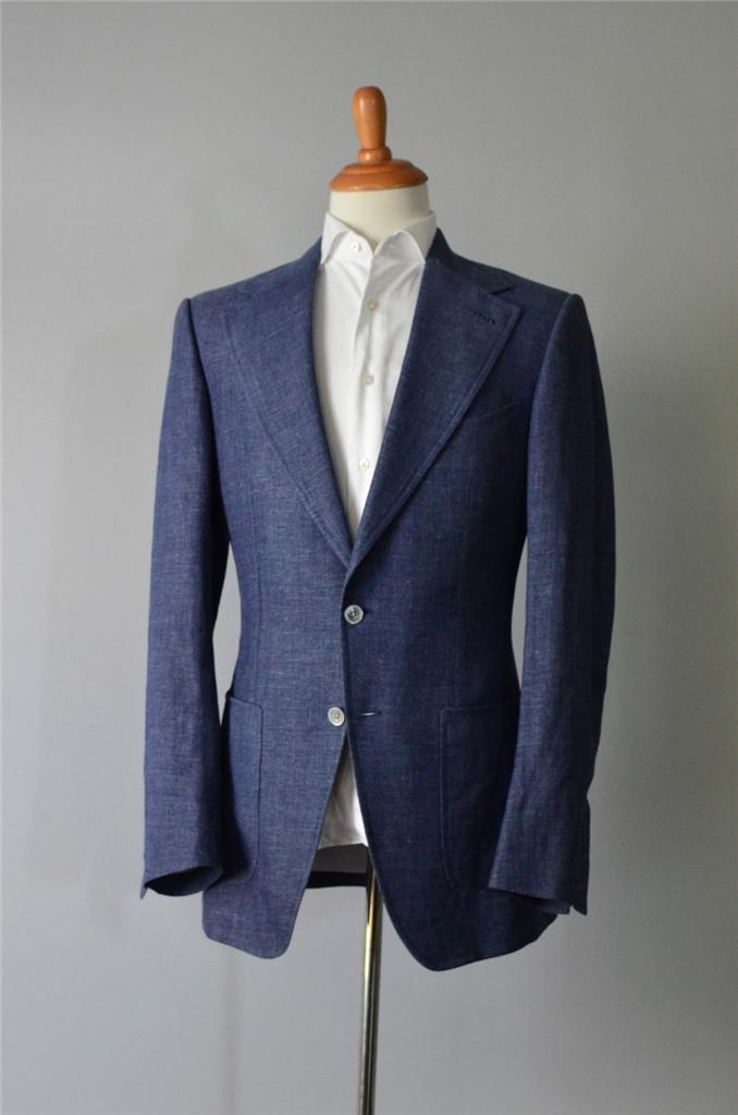 New Tom Ford Suit - Blue Linen Wool Silk - 52 IT 42 US