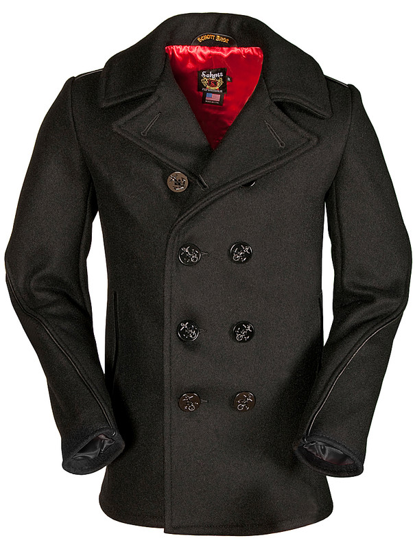 Slim fitting Schott naval pea coat
