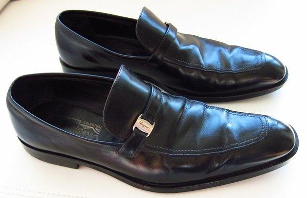 Used Salvatore Ferragamo Black Loafers