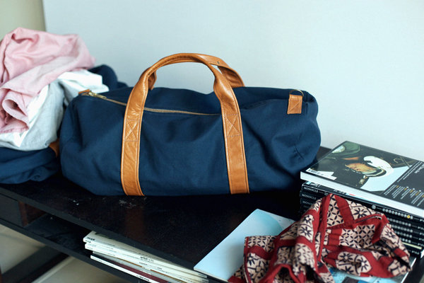 6a43b3e0962aa Handmade Tannis Hegan x Inventory Stockroom Navy Canvas   Leather ...