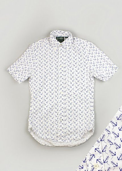 Gitman Brothers Short Sleeve Anchor Shirt size small