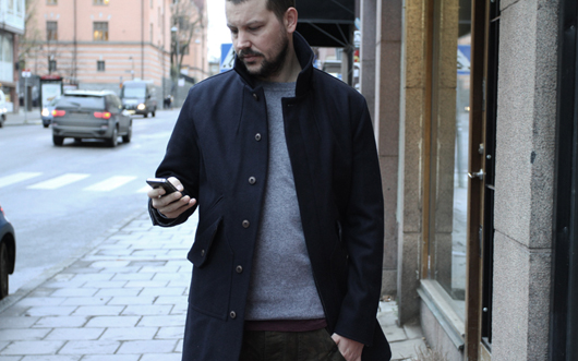 NWT - Wings Horns 2011 AW - Wool Mac Coat - Navy - Size: SMALL ...