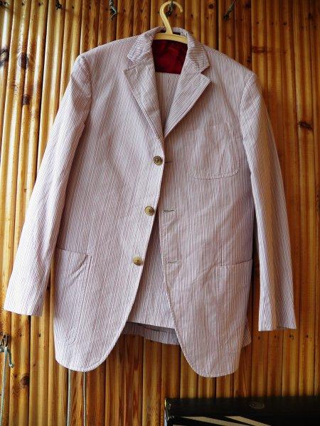 DROP Mens Etro Italy Pinstripe Red White Cotton Suit EU 46 US 36 ...