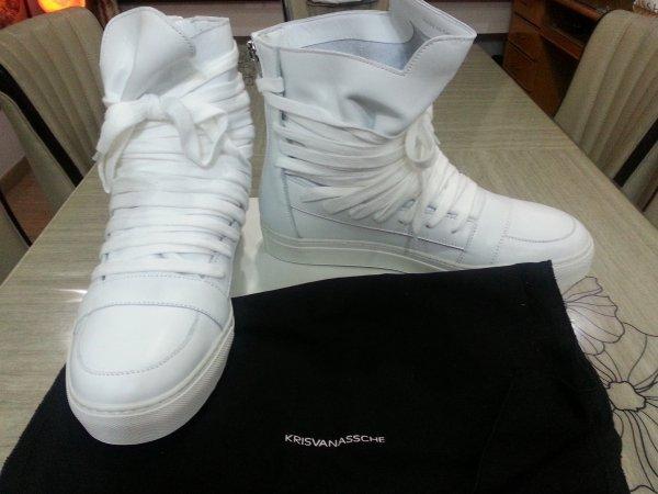 SOLD! KRIS VAN ASSCHE Multi Lace Sneakers in White Sz 42  285470bd7