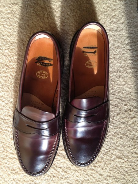 86b2e47743451 Alden for Brooks Brothers shell cordovan unlined penny loafers color ...