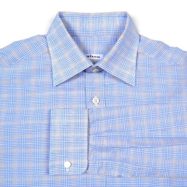 Kiton Napoli Blue Gingham Plaid Check Linen Cotton French