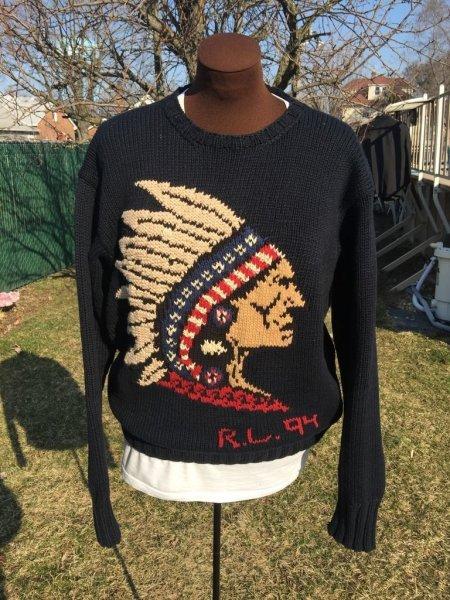 Polo Head Ralph 1994 Vintage Bear Indian Sweater Stadium Lauren 9IbDeYEH2W