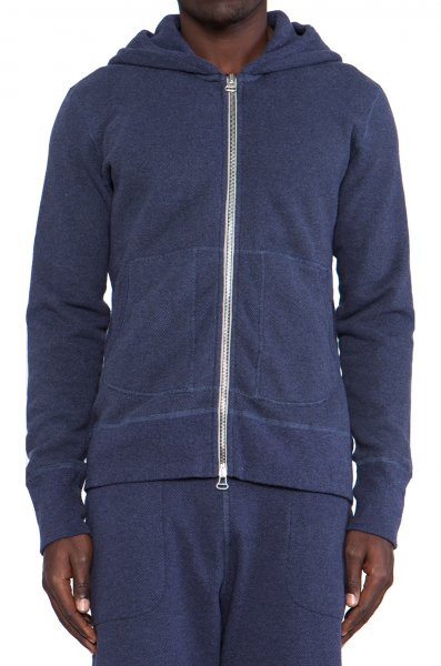 Wings+Horns - Pique Terry Full Zip Hooded Sweater Blue Melange (2014SS).jpg