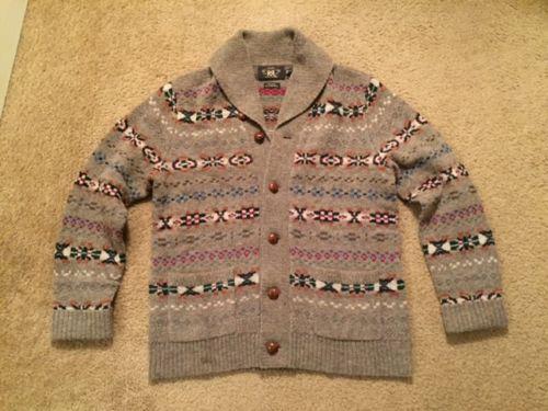 RRL Fair Isle Shawl Collar Wool Cardigan Sweater - Medium - $495 ...