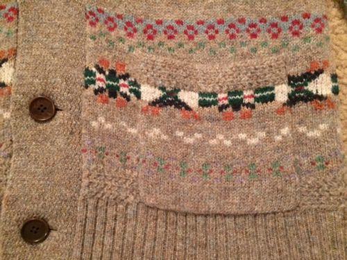 RRL Ralph Lauren Fair Isle Shawl Collar Wool Cardigan - Medium ...