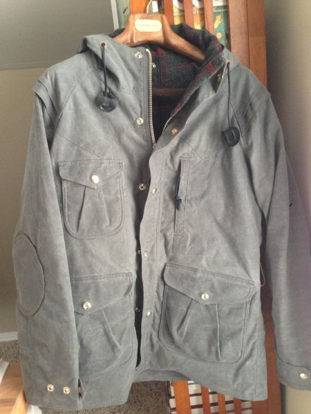NWOT Monitaly Mountain Parka in Grey Waxed Canvas w/ Wool