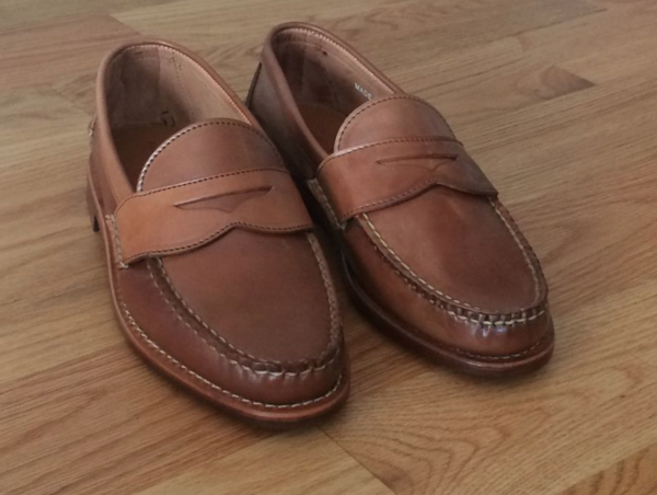28e11225f57 Unlined Rancourt Caramel Shell Pinch Penny Loafer 8.5D