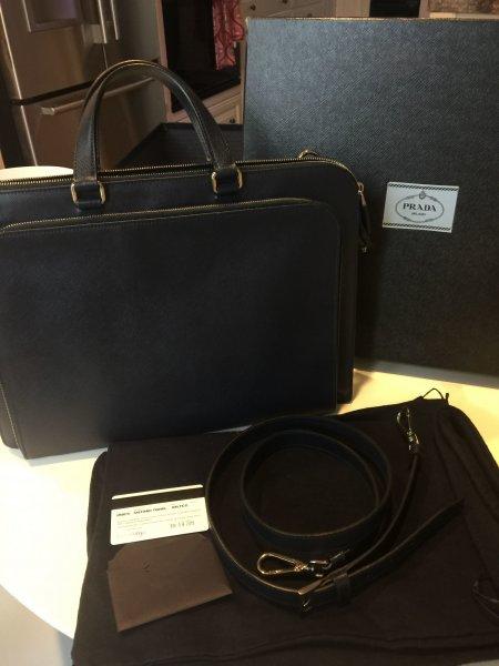 78ff22b8870860 Prada Men Saffiano Leather Briefcase - Baltico (Blue) VR0078 ...