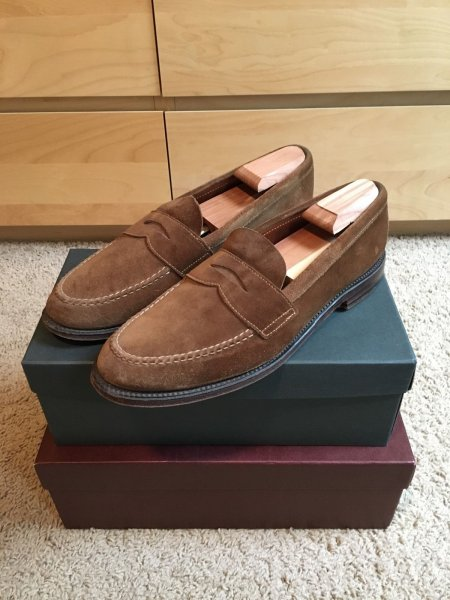 4851fd6b431 Alden Snuff Suede Penny Loafer Unlined LHS 10D