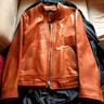 Temple of Jawnz Tan Whiskey Cafe Racer moto lamb leather jacket