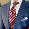 Suitsupply Blue Chalkstripe Light Flannel and Silk Sienna Suit, Size 36