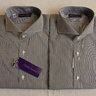 "NWT $495 RLPL ""Keaton"" Shirts (15.5""/16""), Black And White Stripe, Spread Collar, 100% Cotton"